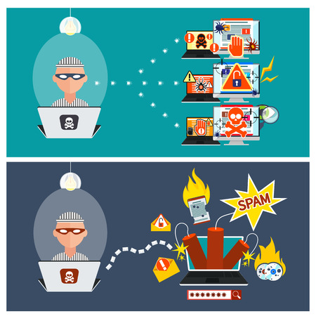 Computer crime in flat design concept. Criminal using computer to commit crime. Hacker activity viruses hacking and e-mail spam