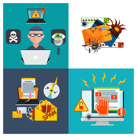 Computer crime in flat design concept. Criminal using computer to commit crime. Hacker activity viruses hacking and e-mail spam Vector
