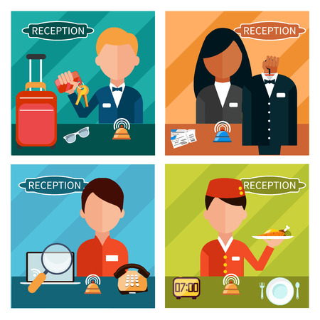 hotel lobby: Set of reception character in different interactive places in hotel, restaurant, theater. Portrait of receptionist in flat design style on four banners