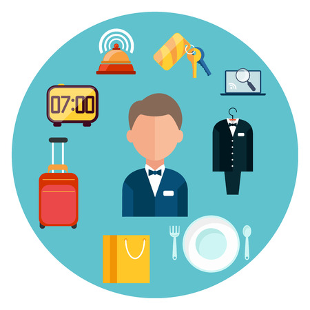 hotel rooms: Hotel icons set. Man around hotel item icons in flat design Illustration
