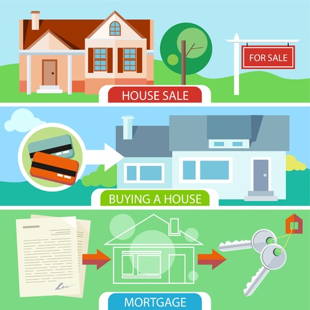 Approved mortgage loan application with house key. Sold home with for sale sign in front of beautiful new house. Buying house money from card for home. Real estate concept Vector