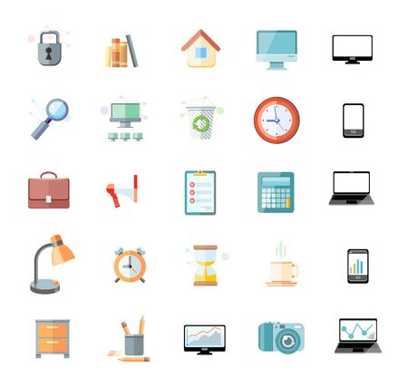 Set of icons for office and time management with digital devices and office objects on white background Vector