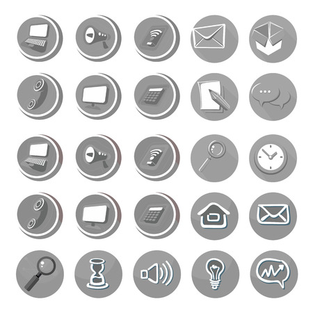 electronic device: Electronic device icons in cartoon style in black color. Devices include set of communication icons megaphone computer laptop smartphone data information calling monitor and calculator Illustration