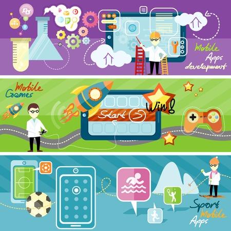 Sport thema en toepassingen. Ontwikkeling van mobiele apps laboratorium concept met post iconen. Mobiele game te testen. Horizontale banner met spel iconen in platte design stijl