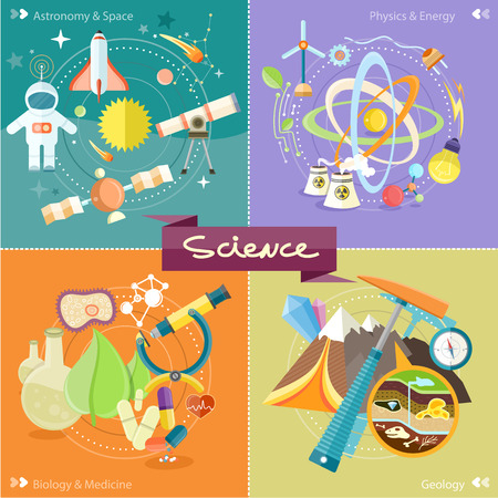 bio energy: Soil Layers with dinosaur fossil. Space and astronomy. Physics energy. Laboratory workspace and workplace concept. Chemistry, physics, biology. Concept in flat design cartoon style on stylish background