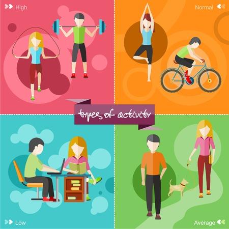 Arten von Aktivitäten. Hoch, normal, niedrig und dem durchschnittlichen Active. Gesunde Lebensstile täglichen Routine Tipps Strichmännchen in flachen Design-Stil auf vier Mehrfarbenfahnen