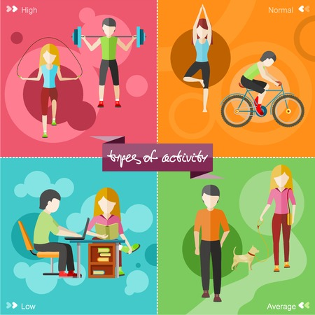 old people smiling: Types of activity. High, normal, low and average active. Healthy lifestyles daily routine tips stick figure in flat design style on four multicolor banners