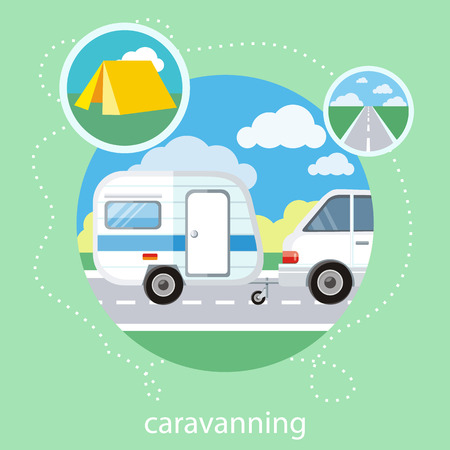 caravans: Caravaning on the road near the tree. Caravaning tourism. Icons of traveling, planning a summer vacation, tourism and journey objects Illustration