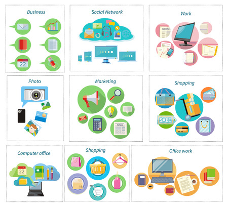 computer office: Shoping and different goods. Modern marketing process. Analysis and searching. Social network, computer office, shopping, delivery and office work. Working process of business team in flat design Illustration