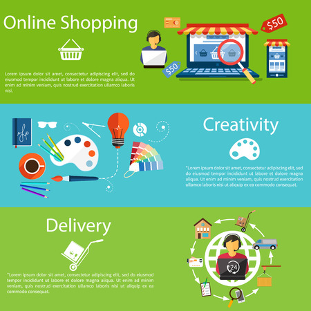 Internet shopping concept laptop with awning of buying products via online shop store e-commerce ideas e-commerce symbols sale elements, delivery and creativity concept on stylish background Vector
