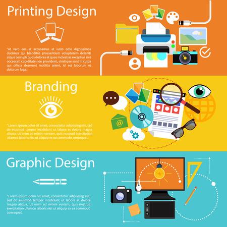 imprenta: Icono concepto establecido en dise�o plano para la idea creativa, el proceso de impresi�n, dise�o gr�fico y branding en las pancartas multicolores Vectores
