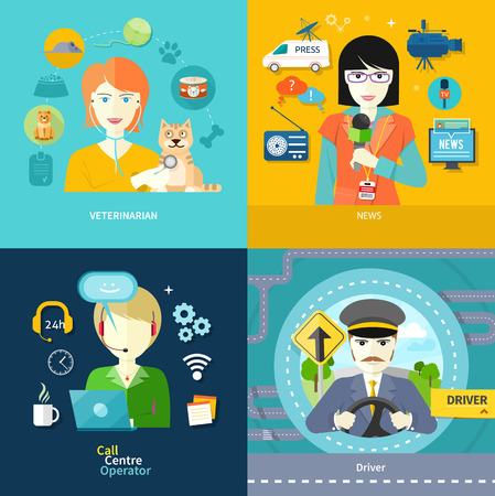 female driver: Female journalist with badge holding microphone. Male driver in uniform and cap behind the wheel. Veterinarian examining a cat with stethoscope. Customer online consulting service operator in flat design Illustration