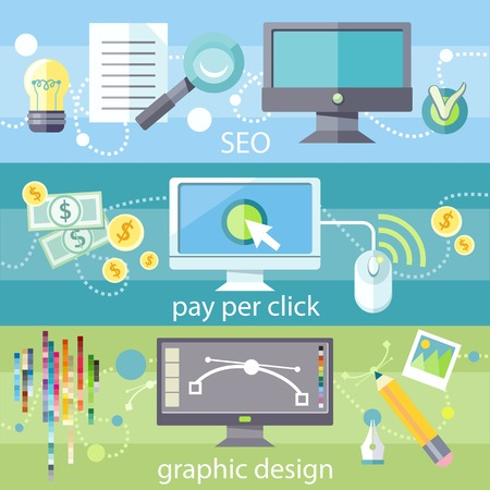 seo process: SEO social engineering optimization, programming process. Pay per click internet advertising model. Web graphic design. Program for design and architecture in flat design on banners