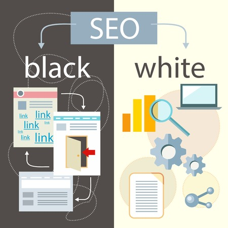 seo process: SEO optimization, programming process and web analytics elements in flat design. White hat and black hat search engine optimisation