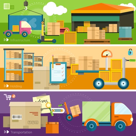 warehouse interior: Warehouse consegna distribuzione in luoghi diversi. La tecnica funziona con scatole pacchi. Concetto di trasporto Consegna in design piatto sul banner