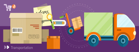 parcels: Warehouse distribution delivery in different locations. The technique works with boxes parcels. Delivery shipping concept in flat design on banners