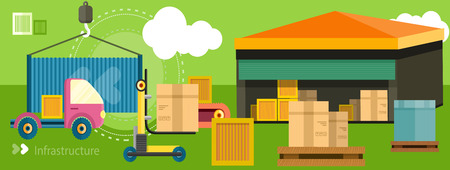parcels: Warehouse distribution delivery in different locations. The technique works with boxes parcels. Delivery shipping concept in flat design on banner