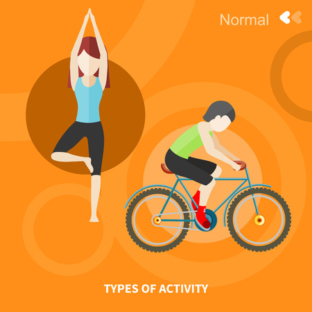 happy older couple: Types of activity. High, normal, low and average active. Healthy lifestyles daily routine tips stick figure in flat design style on banner