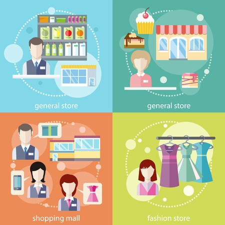 general store: Flat design concepts of general store, shopping mall and fashion store on four multicolor banners