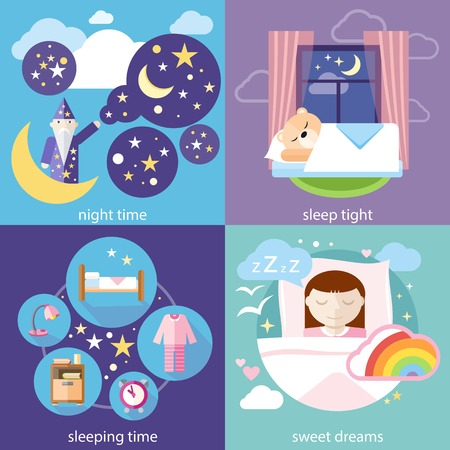 Banners with sleeping time, night time, sweet dreams and sleep tight concepts icons in cartoon style. Little cute girl sleeping in her bed with toys