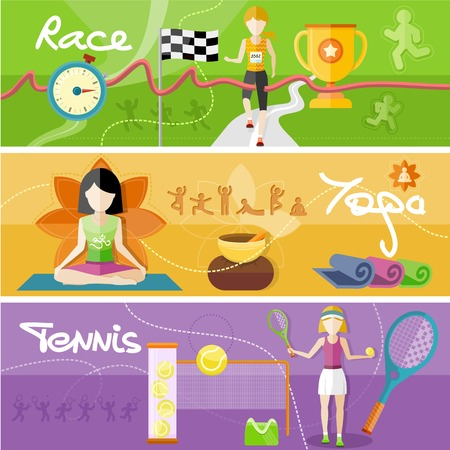 sports race: Portrait of sporty girl tennis player with racket in flat design style. Winning athlete female crosses the finish line. Young woman doing yoga. Yoga lotus pose