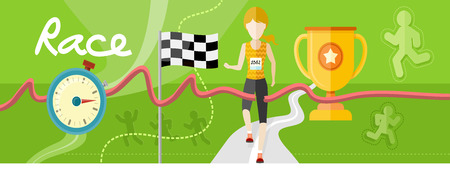 female athlete: Winning athlete female crosses the finish line. Athletic woman running on track. Concept with item icons in flat design