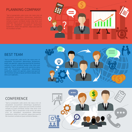 Flat design concept of best team, planning company, business and conference item icons on multicolor banners