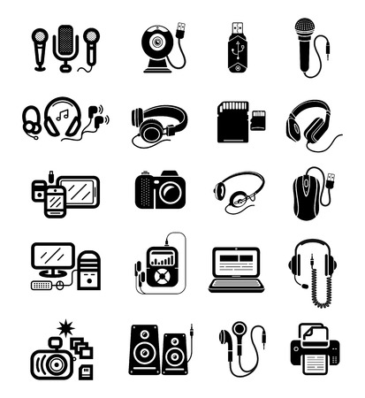 earpieces: Icon set in black of digital gadgets with speakers, microphones, headphones, camera, smartphone, digital tablet, desktop computer, earpieces, memory stick, mouse, microphone isolated on white background