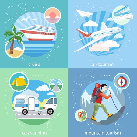 Mountain tourism. Caravaning tourism. Cruise ship and clear blue water. Water tourism. Detailed airplane flying through clouds in the blue sky in cartoon design style