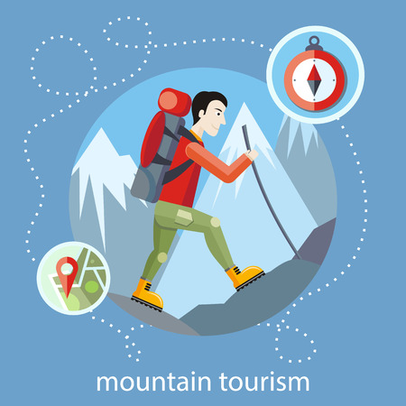 man hiking: Man traveler with backpack hiking equipment walking in mountains. Mountain tourism concept in cartoon design style Illustration
