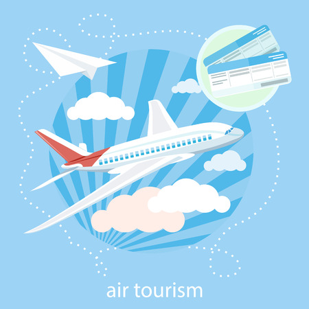 airplane ticket: Flat design style modern concept with item icons of detailed airplane flying through clouds in the blue sky