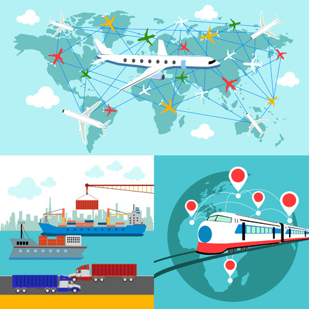 sea freight: Shipping, delivery car, ship, plane transport on a background map of the world Illustration