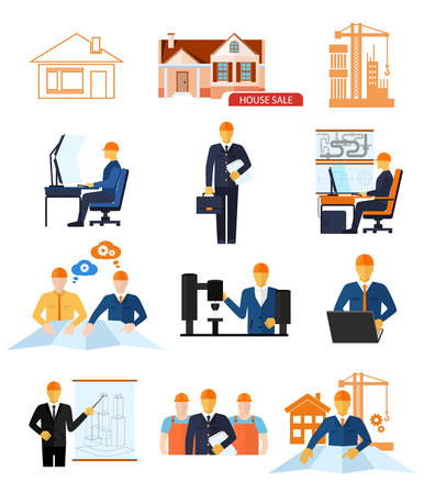 Industrial concept set of development new product and production process, stages of engineering and building houses flat design Illustration