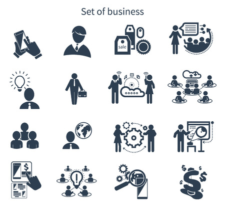 workers: Meeting icons in black color isolated on white background. Business presentation teamwork concept. Internet cloud between businessmans
