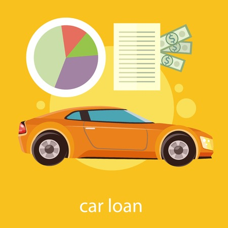 driver license: Car loan approved document with dollars money. Modern car on stylish background in flat cartoon design style Illustration