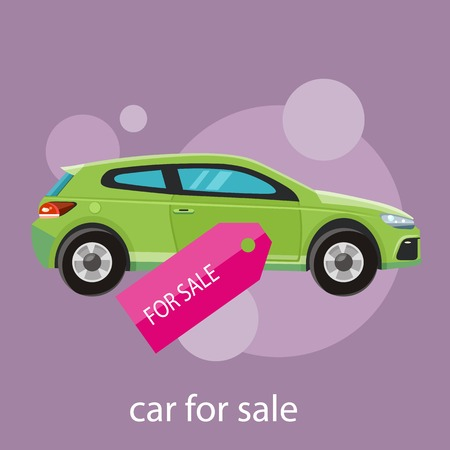 Car sale design template with modern car and tag. Concept in flat style cartoon design on stylish background Vector