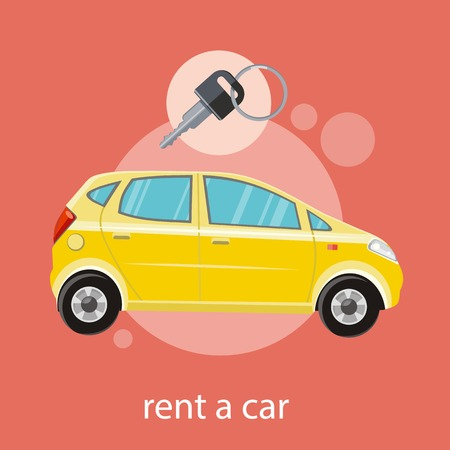 Yellow car with a key. Rent a car concept in flat design cartoon style on stylish background Vector