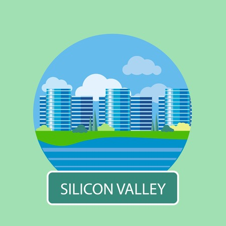 silicon: Silicon Valley sign. Office building in Silicon Valley. Poster concept in cartoon style with text