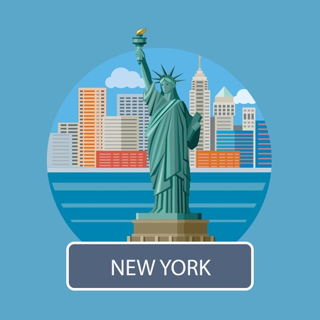 manhattan skyline: New york cityscape. Manhattan Skyline and Statue of Liberty, New York City. Poster concept in cartoon style with text
