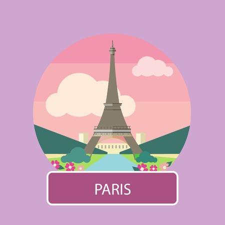 seine: Eiffel tower, Paris. France. Poster concept in cartoon style with text