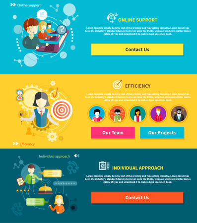 interactivity: Customer service representative at computer in headset. Online support. Cartoon phone operator. Individual approach. Support centerand efficiency. Customer support interactivity in flat design concept on banners