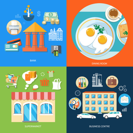 general store: Business center with item icons. Bank office symbol with ATM dollars tree and cards icon. Dining room. Breakfast top view. Coffee, fried egg, waffles. Supermarket general store in flat design