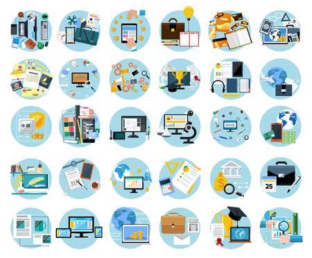 Icons set bannières pour le travail de l'entreprise, le paiement mobile, pay per click, design de la marque, processus créatif, de la banque, de l'analyse dans la conception plat Vecteurs