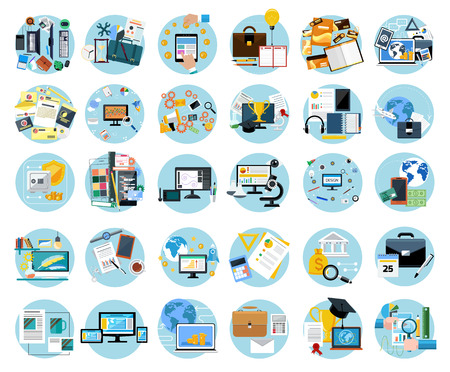 Icons set banners for business work, mobile payment, pay per click, brand design, creative process, banking, analysis in flat design Illustration