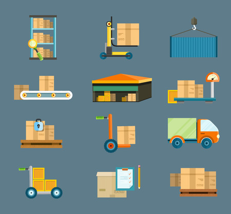 Set of icons warehouse distribution delivery in different locations. The technique works with boxes parcels. Delivery shipping concept in flat design Иллюстрация
