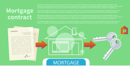mortgage: Approved mortgage loan application with house key and home. Concept in flat design cartoon style on stylish background
