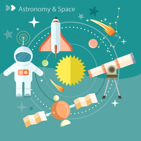 Raum und Astronomie-Icons mit Teleskop Globus Rakete Astronaut gesetzt. Konzept in flache Bauform Cartoon-Stil auf stilvolle Hintergrund