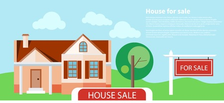 home value: Sold home with for sale sign in front of beautiful new house. Concept in flat design cartoon style on stylish background