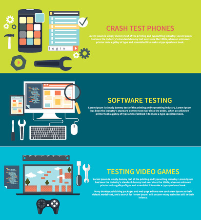 Software development workflow process coding testing analysis concept banner in flat design. Testing video games. Game development concept with item icons. Repairing mobile phone concept. Crash test phones Vettoriali