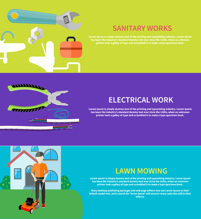 backyard work: Man cutting grass in his garden yard with lawn mower. Sanitary works. Toolbox and wrench. Electrical work. Metal pliers with tangled blue red electric cable in flat design.
